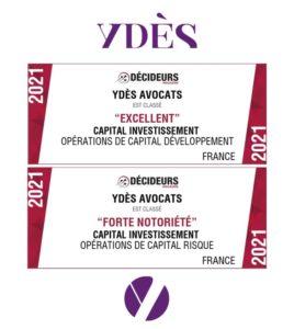 Classements Décideurs / Capital Investissement / Ydès - Droit des affaires